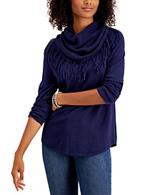 Fringe Cowl-Neck Sweater, Created for Macy's