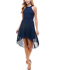 Juniors' Glitter-Lace High-Low Dress