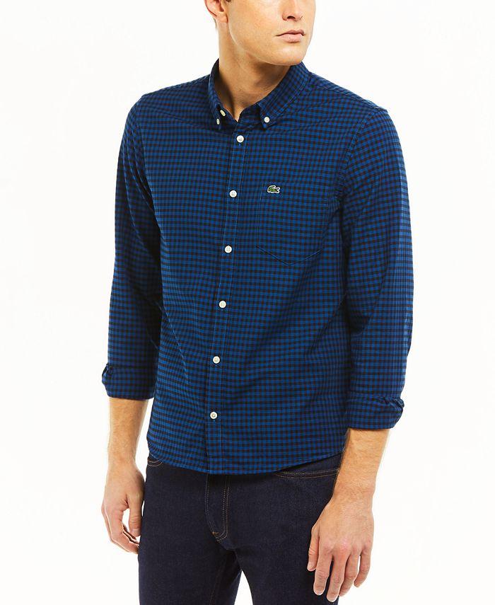 Lacoste - Men's Regular-Fit Checkered Oxford Cotton Shirt