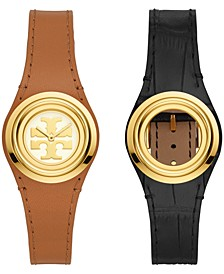 Women's Miller Brown & Black Leather Strap Watch 30mm Gift Set