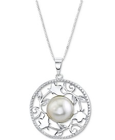 "Cultured Freshwater Button Pearl (11mm) Filigree Disc 18"" Pendant Necklace in Sterling Silver"
