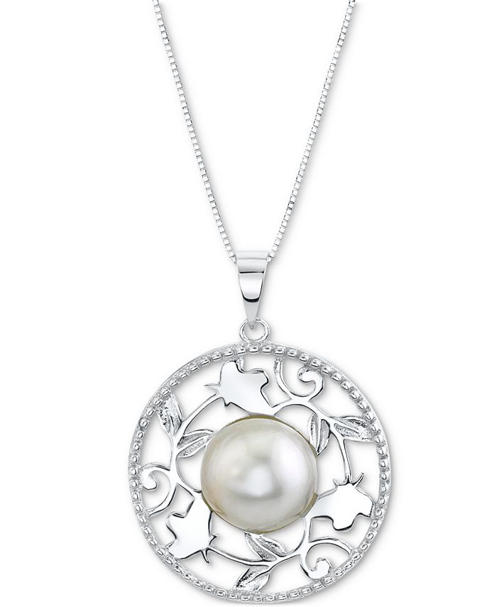 """Macy's - Cultured Freshwater Button Pearl (11mm) Filigree Disc 18"""" Pendant Necklace in Sterling Silver"""