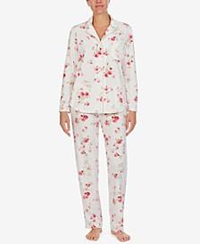 Petite Gift Folded Printed Fleece Pajamas Set