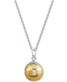 "Cultured Golden South Sea Baroque Pearl (9-11mm) 18"" Pendant Necklace in Sterling Silver"