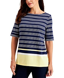 Plus Size Striped Boat-Neck Top, Created for Macy's