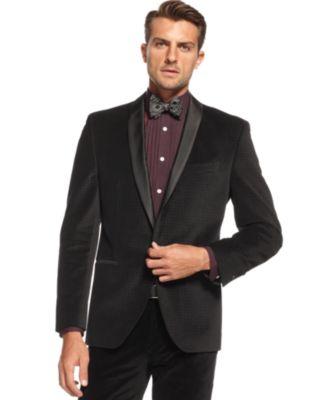Tallia Printed Black Velvet Blazer- Slim Fit - Blazers &amp Sport