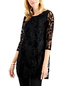 Printed Shimmering Velvet Burnout Tunic Top, Created for Macy's
