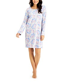 Printed Cotton Long Sleeve Nightgown, Created for Macy's