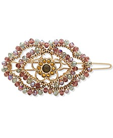 Gold-Tone Crystal Evil Eye Beaded Hair Barrette