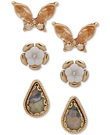 Gold-Tone 3-Pc. Set Crystal, Stone & Mother-of-Pearl Butterfly & Flower Stud Earrings
