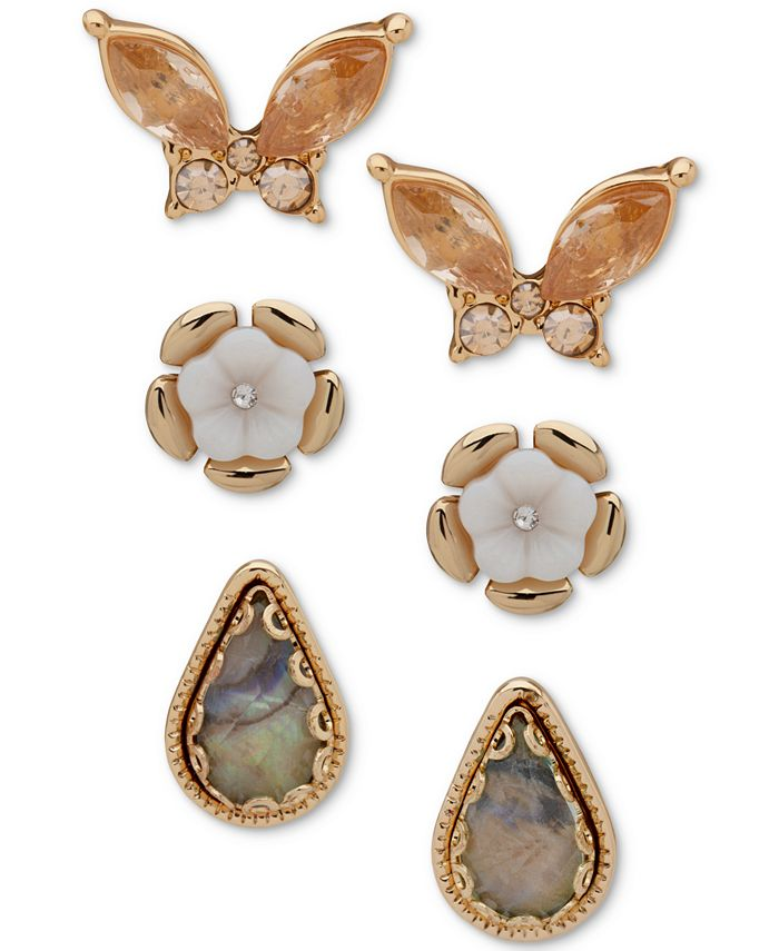lonna & lilly - Gold-Tone 3-Pc. Set Crystal, Stone & Mother-of-Pearl Butterfly & Flower Stud Earrings
