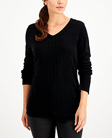 Karen Scott V-Neck Cable-Trim Sweater, Created for Macy's
