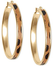 Gold-Tone Small Leopard-Print Faux-Fur Inlay Hoop Earrings, 0.87""