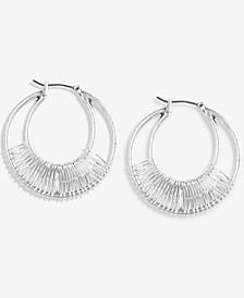 Silver-Tone Medium Wire-Wrapped Double-Row Hoop Earrings, 1.5""
