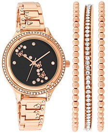 INC Women's Rose Gold-Tone Crystal-Accent Bracelet Watch 35mm & Bangle Bracelets Set, Created for Macy's