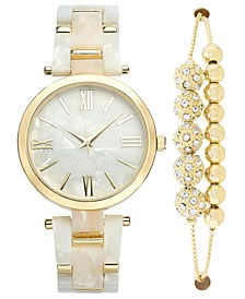 INC Women's Gold-Tone & Mother-of-Pearl Bracelet Watch 38mm & Slider Bracelet Set, Created for Macy's