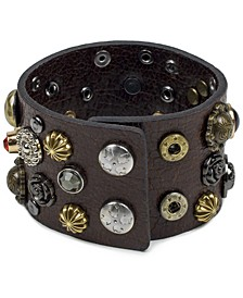 Two-Tone Studded Leather Cuff Bracelet