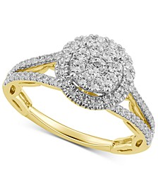 Diamond Halo Cluster Ring (5/8 ct. t.w.) in 14k Gold