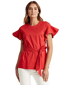 Cinched Waist Flutter-Sleeve Top
