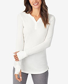 Waffle Long-Sleeve Split V-Neck Top