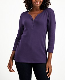 Cotton 3/4-Sleeve Henley Top, Created for Macy's
