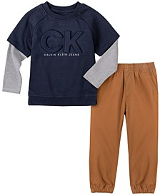 Jean Toddler Boys Knit Slider Sleeves Top and Pant 2 Piece Set