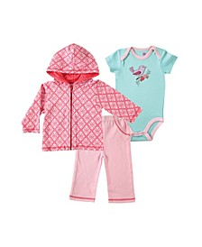 Boys and Girls Bird Hoodie, Bodysuitor Tee Top and Pant Set, Pack of 3