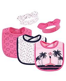 Girls Tropical Flamingo Bib and Headband Set, Pack of 5