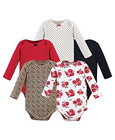 Boys and Girls Basic Rose Leopard Long-Sleeve Bodysuits, Pack of 5