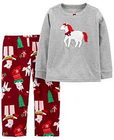 Toddler Girls 2-Piece Llama Poplin Top and Legging Set