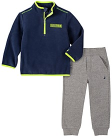 Toddler Boys Winter Fleece Zip Neck Pullover with Fleece Pant Set, 2 Piece