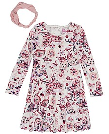 Toddler Girls Long Sleeve All Over Butterfly Print Velour Dress with Headwrap