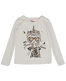 Little Girls Long Sleeve Diva Graphic Mix and Match Tee