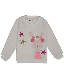 Little Girls Bunny Graphic Minky Sweatshirt