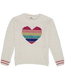 Little Girls Rainbow Heart Graphic Knit Sweater
