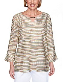 Women's Textured Striped Bell Sleeve Misses Top