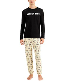 Matching Men's Snow Day Family Pajama Set, Created for Macy's