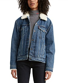 Fleece-Trim Denim Trucker Jacket