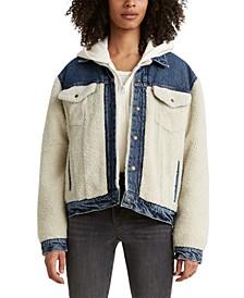 Pieced Fleece & Denim Trucker Jacket