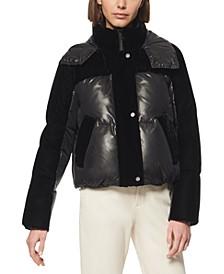 Marc New York Vega Hooded Mixed-Media Down Puffer Coat