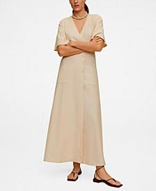 Women's Buttoned Wrap Dress