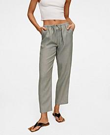 Women's Straight Linen-Blend Pants