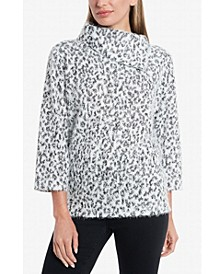 Women's Fuzzy Animal Fold Over Neck Pullover