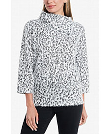 Vince Camuto Women's Fuzzy Animal Fold Over Neck Pullover