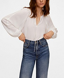 Women's Puffed Sleeves Flowy Blouse