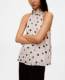 Women's Polka-Dot Pleated Top