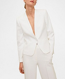 Women's Satin Collar Crepe Blazer
