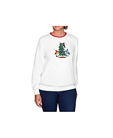 Women's Misses Penguin Embroidered Knit Top