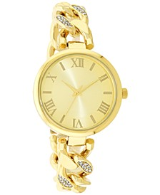 Women's Gold-Tone Crystal-Accent Chain Bracelet Watch 38mm, Created for Macy's