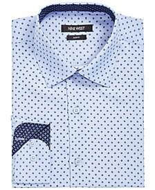 Men's Slim-Fit Performance Stretch Dotted Square-Print Dress Shirt